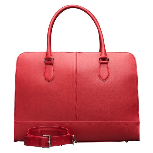 Su.B 15.6 Inch Laptop Bag without Trolley Strap for Women | Saffinao Leather | Briefcase, Handbag, Messenger Bag | Made in Italy | Made in Italy | Cherry Red