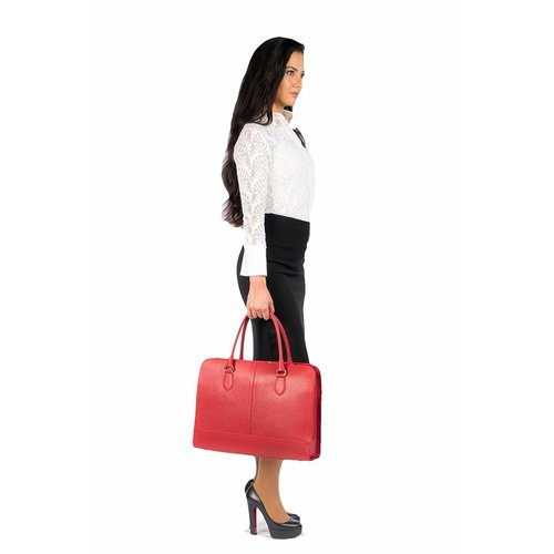 Su.B 15.6 Inch Laptop Bag without Trolley Strap for Women - Saffinao Leather - Briefcase, Handbag, Messenger Bag - Cherry Red