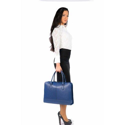 Su.B 15,6 Zoll Laptoptasche Fuer Damen | Saffianoleder | Professionelle Designer Aktentasche, Handtasche, Schultertasche ohne Trolleyband | Made in Italy | Dunkel Blau
