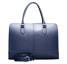 15.6 Inch Laptop Bag without Trolley Strap for Women - Saffinao Leather - Briefcase, Handbag, Messenger Bag - Dark Blue
