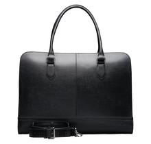 15.6 Inch Laptop Bag without Trolley Strap for Women - Saffinao Leather - Briefcase, Handbag, Messenger Bag - Black