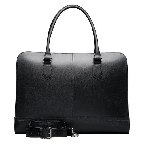 Su.B 15.6 Inch Laptop Bag without Trolley Strap for Women - Saffinao Leather - Briefcase, Handbag, Messenger Bag - Made in Italy - Made in Italy - Black