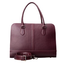 15.6 Inch Laptop Bag without Trolley Strap for Women - Saffinao Leather - Briefcase, Handbag, Messenger Bag - Bordeaux Red
