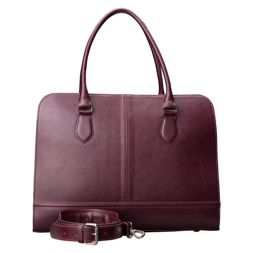 Su.B 15.6 Inch Laptop Bag without Trolley Strap for Women - Saffinao Leather - Briefcase, Handbag, Messenger Bag - Bordeaux Red