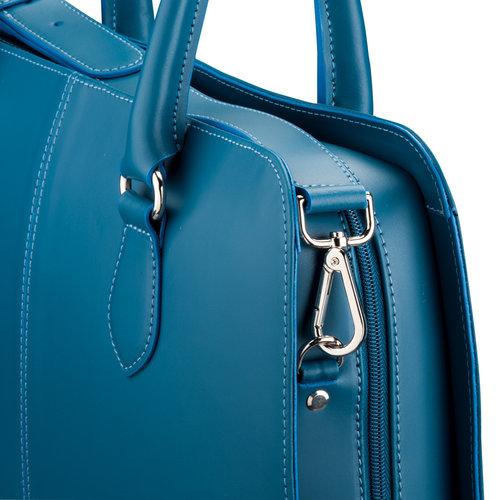 Su.B Shoulder Strap for Women 13.3 and 15.6 inch Laptop Bag - Messenger Bag - Split Leather - Turquoise
