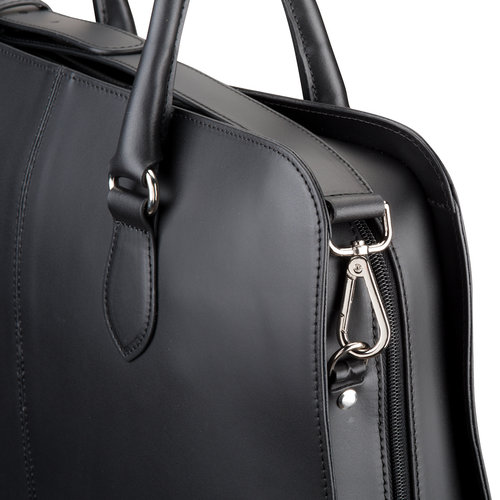 Su.B Shoulder Strap for Women 13.3 and 15.6 inch Laptop Bag - Messenger Bag - Split Leather - Black