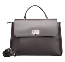 Designer Handbag for Women - Ladies Leather Purse with Shoulder Strap - Dark Brown