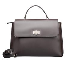 Leder Handtasche für Damen - Umhängetasche - mit Schulterriemen - Dunkelbraun