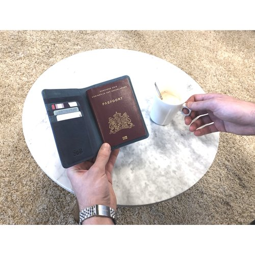 Su.B Designer RFID Blocking Passport Cover Luxurious Leather Holder - Travel Ticket or Cards Wallet for Men and Women - Turquoise
