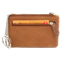 Designer Genuine Leather Coin Wallet Key Case with Dual Rings - Outer Card Pocket with Zipper - Brown