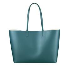 Leder Shopper für Damen - Umhängetasche, Einkaufstasche - Handtasche - Türkis