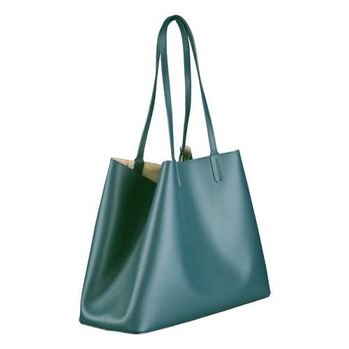 Su.B Women Luxe Shopper - Large Leather Tote Bag - Hand Bag - Made in Italy - Teal