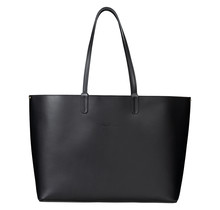Leder Shopper für Damen - Umhängetasche, Einkaufstasche - Handtasche - Schwarz
