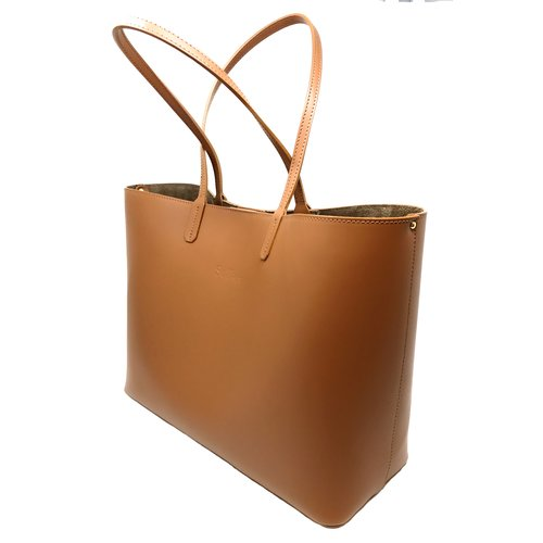 Su.B Women Luxe Shopper - Large Leather Tote Bag - Handbag - Made in Italy - Brown