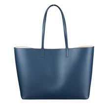 Leder Shopper für Damen - Umhängetasche, Einkaufstasche - Handtasche - Dunkelblau