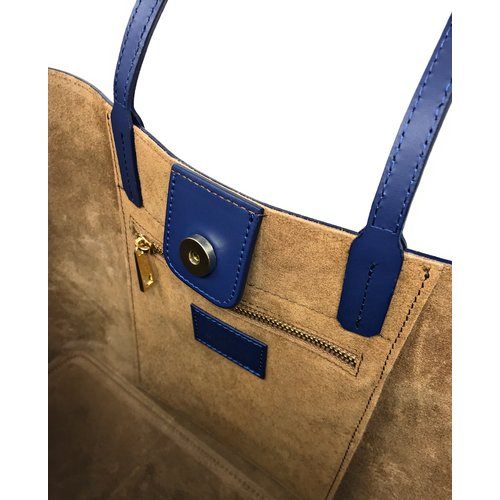 Su.B Women Luxe Shopper - Large Leather Tote Bag - Handbag - Made in Italy - Dark Blue