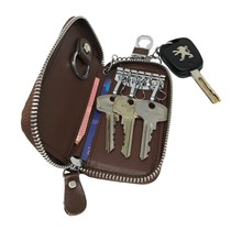Genuine Leather Key Case Key Holder - 6 hooks, 2 Long Car  Key Chain, 2 Cards Notes Wallet - Brown