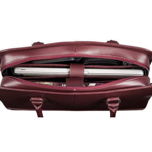 Su.B Laptoptas 13 inch - Dames Handtassen - Dames Schoudertas met Laptopvak - Leren Aktetassen - Bordeaux Rood