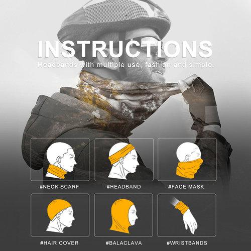 Su.B 2 pieces Multi-functional Polyester Cowl Neck Scarf  - Bandana - Balaclava - Ideal for Sports Cycling Motorbike - Unisex - Black