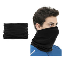 2 pieces Multi-functional Polyester Cowl Neck Scarf  - Bandana - Balaclava - Ideal for Sports Cycling Motorbike - Unisex - Black