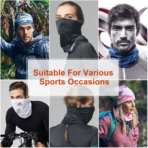 Su.B 2 pieces Multi-functional Polyester Cowl Neck Scarf - Face Mask - Bandana - Ideal for Sports Cycling Motorbike - Men Women – Dark green