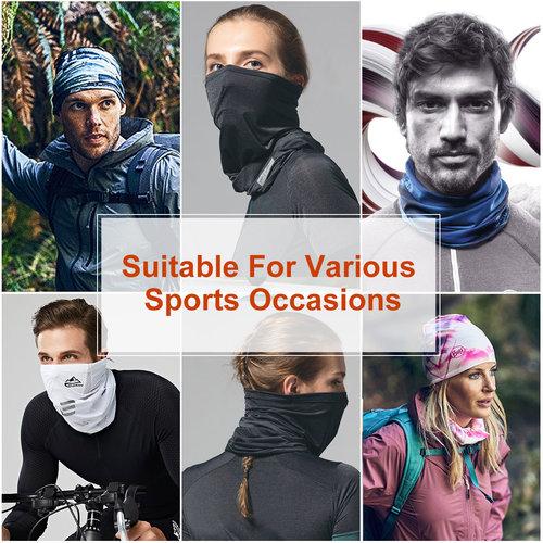 Su.B 2 Stücke Multifunktionaler Polyester Schlauchschal - Gesichtsmaske - Bandana - Ideal für Sport Fahrrad Motorrad - Männer Frauen - Braun