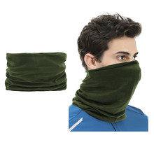 2 pieces Multi-functional Polyester Cowl Neck Scarf  - Bandana - Balaclava - Ideal for Sports Cycling Motorbike - Unisex - Dark green
