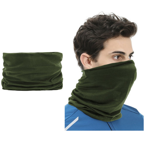 Su.B 2 pieces Multi-functional Polyester Cowl Neck Scarf  - Bandana - Balaclava - Ideal for Sports Cycling Motorbike - Unisex - Dark green