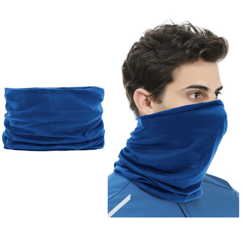 Su.B 2 pieces Multi-functional Polyester Cowl Neck Scarf  - Bandana - Balaclava - Ideal for Sports Cycling Motorbike - Unisex - Blue