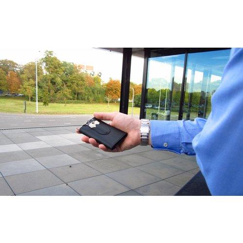 Su.B Designer Key Case with Coin Pocket - Key Holder with Outer Key Pocket - Genuine Leather - Black / Olive