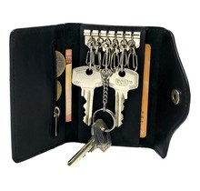 Designer Key Case with Coin Pocket - Key Holder with Outer Key Pocket - Genuine Leather - Black