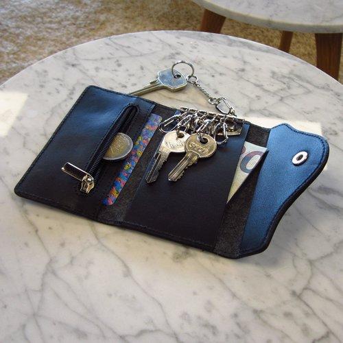 Su.B Leren Sleuteletui - Sleutelmapje - Sleuteltasje met pasjeshouder en ritsvakje voor muntgeld - Sleutel organizer - Sleutelhouder - Zwart