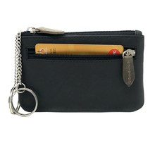 Genuine Leather Coin Wallet Key Case with Dual Rings - Outer Card Pocket with Zipper - Black /  Olive