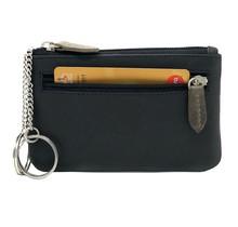 Designer Leder Schlüsselbrieftasche - Portemonnaie - Geldbörse - mit Außentasche - Schwarz /  Olive