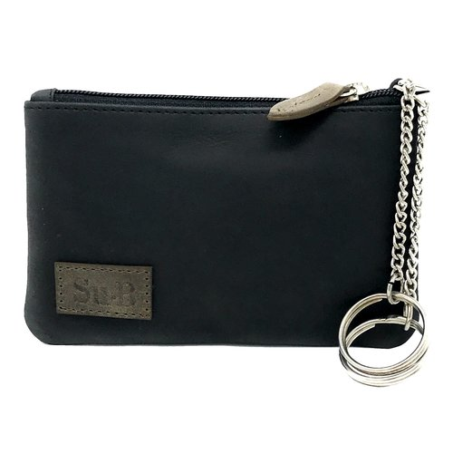 Su.B Genuine Leather Coin Wallet Key Case with Dual Rings - Outer Card Pocket with Zipper - Black /  Olive