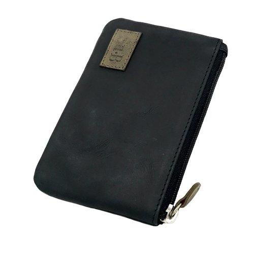 Su.B Leder Schlüsselbrieftasche - Portemonnaie - Geldbörse - mit Außentasche - Schwarz /  Olive