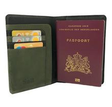 Designer Leder Reisepasshülle - Portemonnaie - Reisepassetui - mit RFID-Schutz - Schwarz & Olive