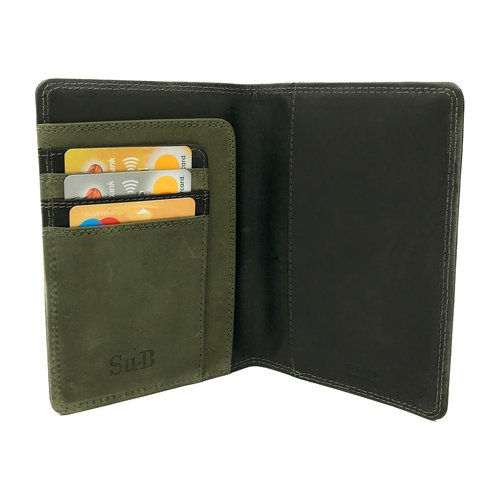 Su.B Designer RFID Blocking Passport Cover Luxurious Leather Holder - Travel Ticket or Cards Wallet for Men and Women  - Black & Olive