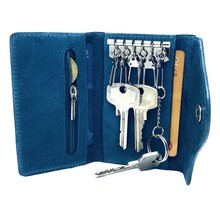Designer Key Case with Coin Pocket - Key Holder with Outer Key Pocket - Genuine Leather - Turquoise