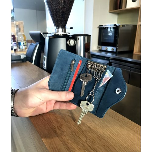 Su.B Designer Key Case with Coin Pocket - Key Holder with Outer Key Pocket - Genuine Leather - Turquoise