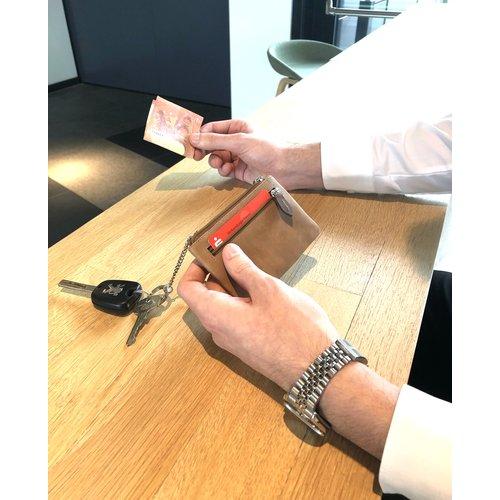 Su.B Leder Schlüsselbrieftasche - Portemonnaie - Geldbörse - mit Außentasche - Cognac