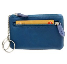 Genuine Leather Coin Wallet Key Case with Dual Rings - Outer Card Pocket with Zipper - Turquoise