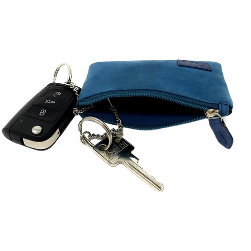 Su.B Genuine Leather Coin Wallet Key Case with Dual Rings - Outer Card Pocket with Zipper - Turquoise