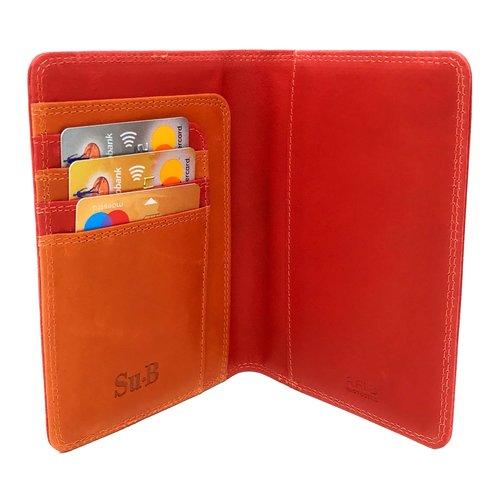 Su.B Designer RFID Blocking Passport Cover Luxurious Leather Holder - Travel Ticket or Cards Wallet for Men and Women - Red & Orange