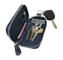 Genuine Leather Key Case Key Holder - 6 hooks, 2 Long Car  Key Chain, 2 Cards Notes Wallet - Dark Blue