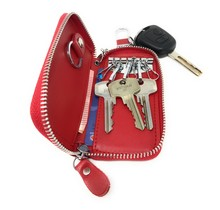 Genuine Leather Key Case Key Holder - 6 hooks, 2 Long Car  Key Chain, 2 Cards Notes Wallet - Red