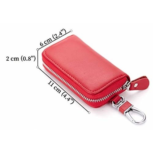 Su.B Genuine Leather Key Case Key Holder - 6 hooks, 2 Long Car  Key Chain, 2 Cards Notes Wallet - Red