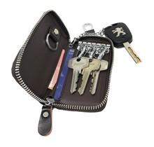 Leren Sleuteltasje - Sleuteletui met Afneembare Autosleutel hanger en Sleutelring - Donker Bruin