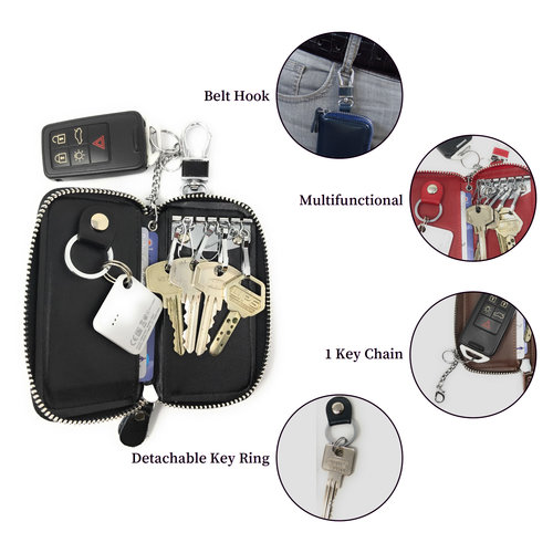 Su.B Genuine Leather Key Case Key Holder - 6 hooks, 2 Long Car  Key Chain, 2 Cards Notes Wallet - Dark Brown