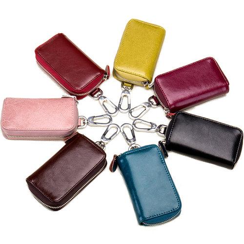 Su.B Echtes Leder Schluesseletui - Schluesselhalter-Karten-Geldboerse mit Autoschluessel-Beutel - 1 Abnehmbarer Ring - Weinrot